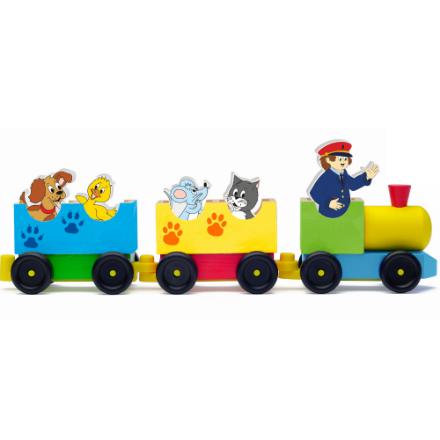 Poza cu Tren din lemn cu figuri animale domestice (8 piese)