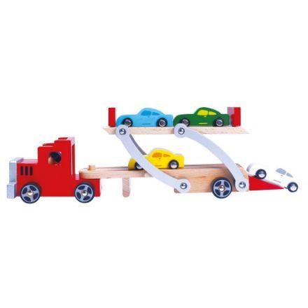 Poza cu Camion cu 4 mașini din lemn